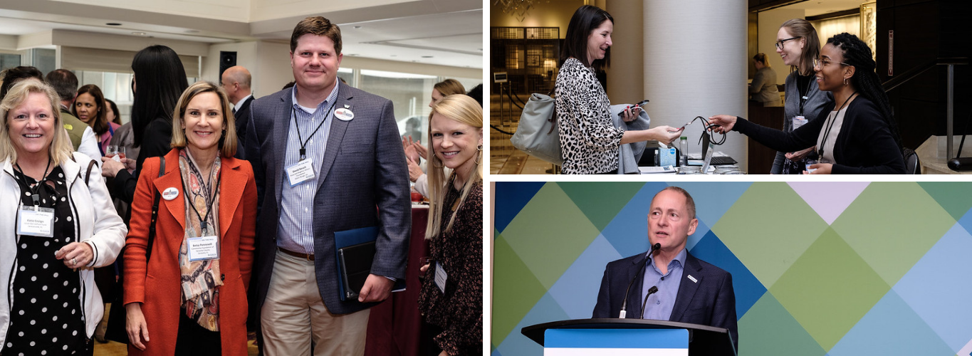 Philanthropy + Policy Institute Collage - collage of three images from 2019 FOTH/Policyworks Instittue - one featuring four people posing at a reception, one featuring a woman receiving a name badge at registration, and one featuring a male speaker at a podium